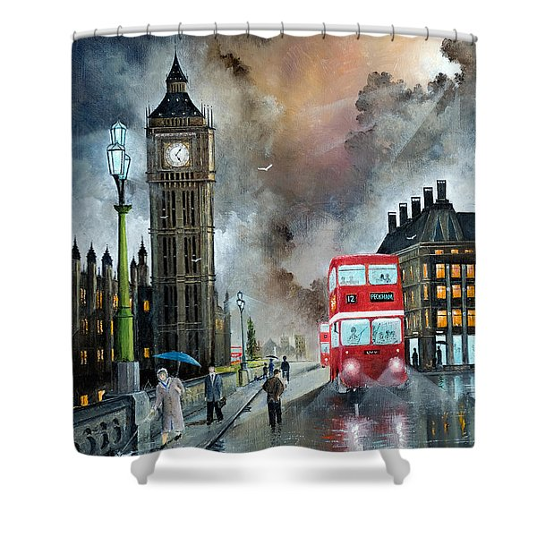 Shower Curtain featuring the painting To Peckham Rye by Ken Wood