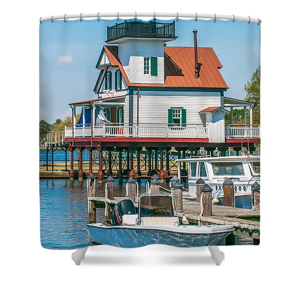 Shower Curtain featuring the photograph Town Of Edenton Roanoke River Lighthouse In Nc by Alex Grichenko