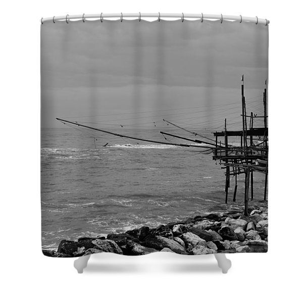 Trabocco On The Coast Of Italy  Shower Curtain
