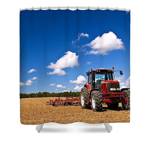 Tractor In Plowed Field Shower Curtain