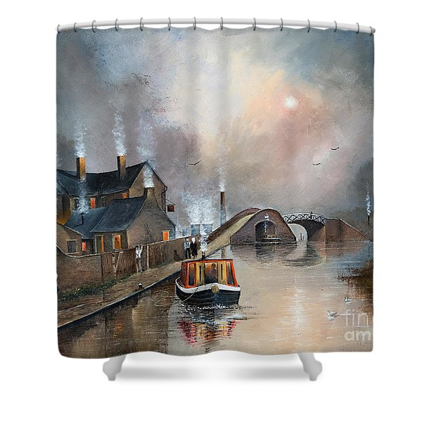 Shower Curtain featuring the painting Twilight Departure by Ken Wood
