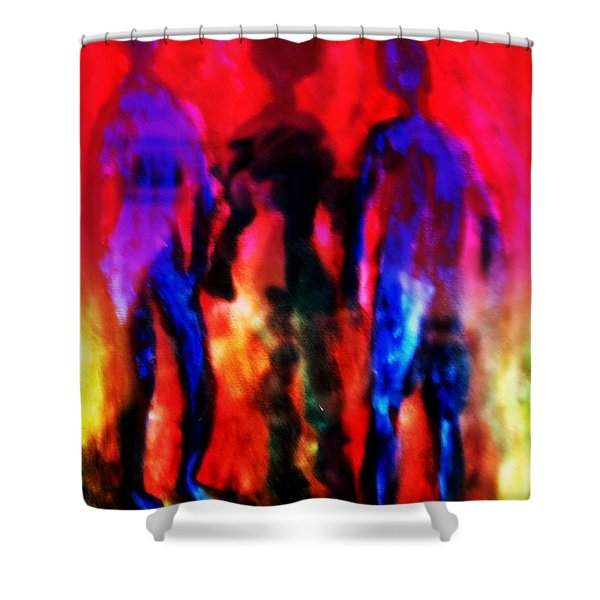 Two Real Men And A Shadow Woman Between Them  Shower Curtain