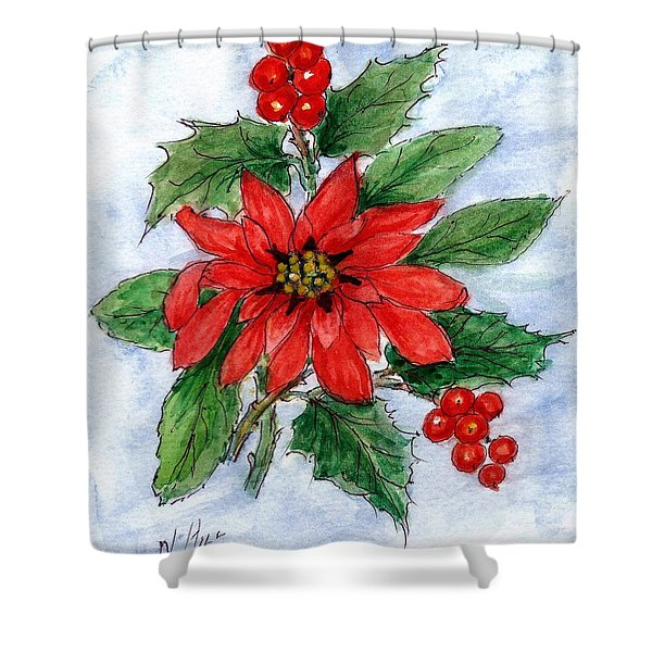 Poinsettia And Holly  Shower Curtain