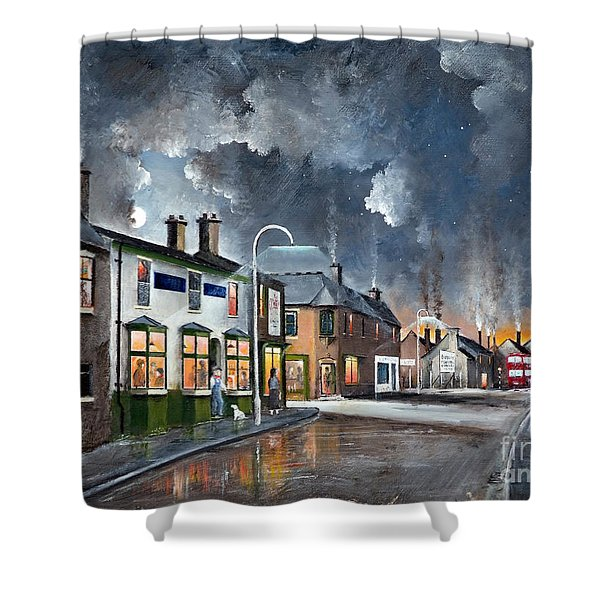 Shower Curtain featuring the painting Upper High Street - Lye by Ken Wood