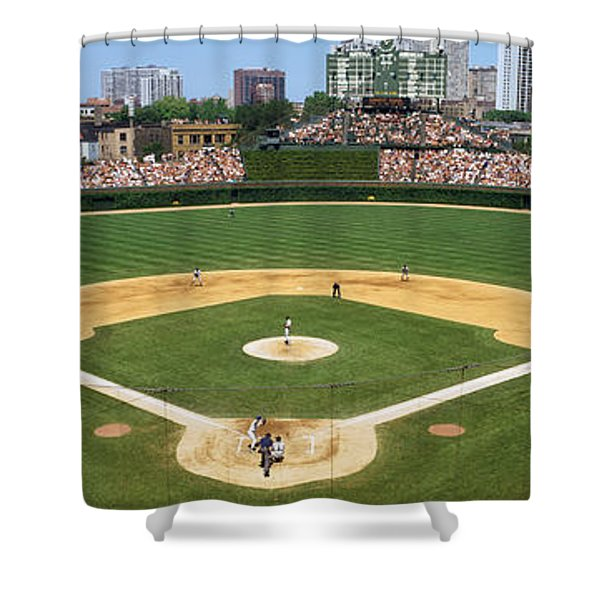 Usa, Illinois, Chicago, Cubs, Baseball Shower Curtain