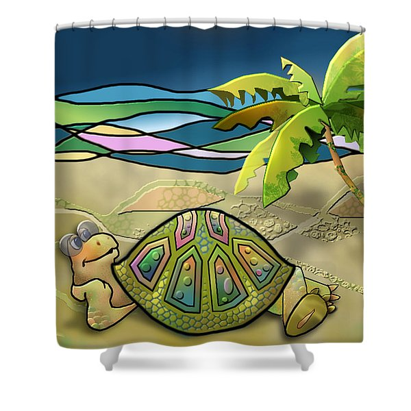 Vacationing Turtle Shower Curtain