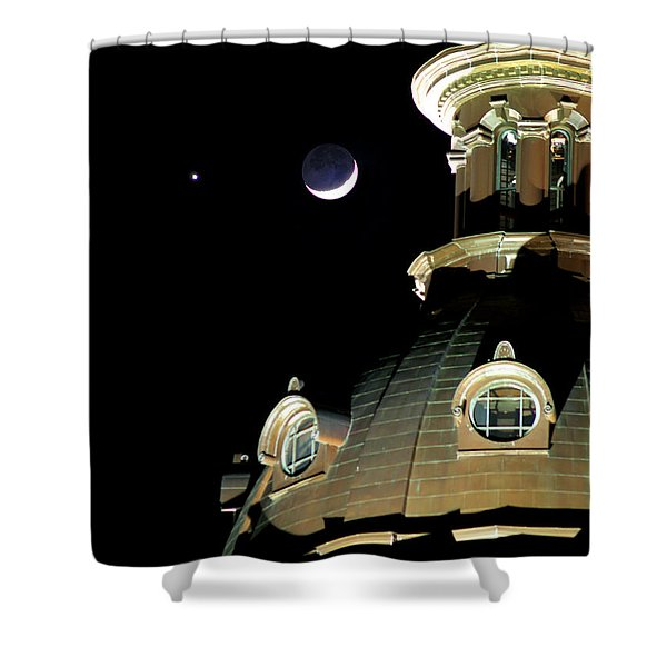 Venus And Crescent Moon-1 Shower Curtain
