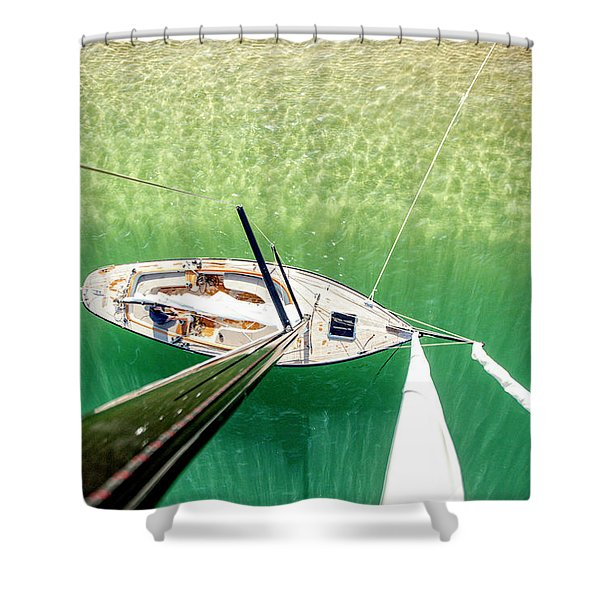 View From Mast Of Sailboat, Banc Shower Curtain