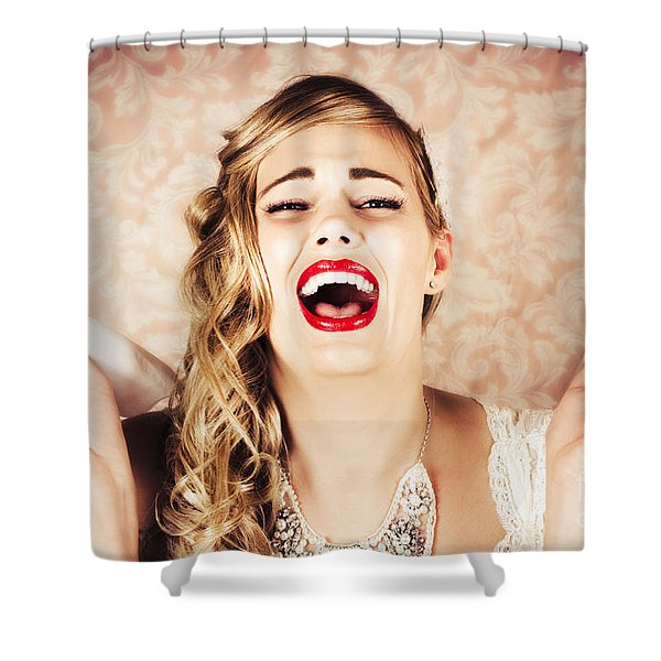 Vintage Bride Crying At The Alter With Tissues Shower Curtain