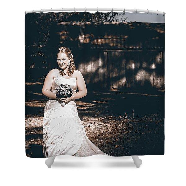 Vintage Elegant Bride At Rural Australian Wedding Shower Curtain