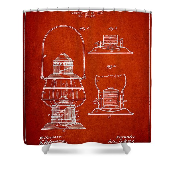 Vintage Lantern Patent Drawing From 1887 Shower Curtain