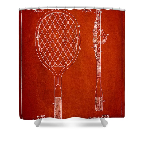 Vintage Tennnis Racketl Patent Drawing From 1921 Shower Curtain