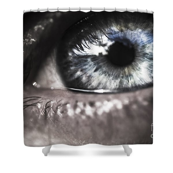 Visionary Blue Eye Watching Electric Skies Shower Curtain