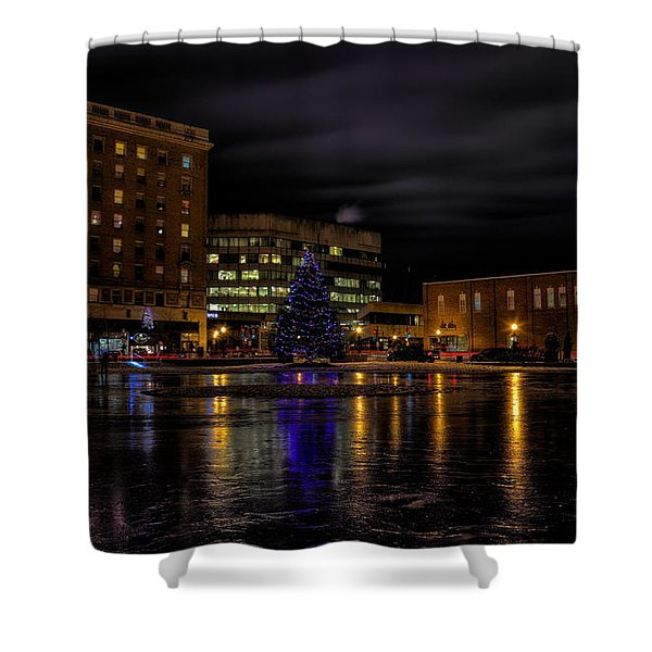 Wausau After Dark At Christmas Shower Curtain