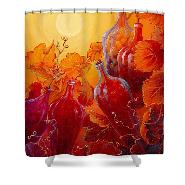 Shower Curtain featuring the painting Wine On The Vine II by Sandi Whetzel