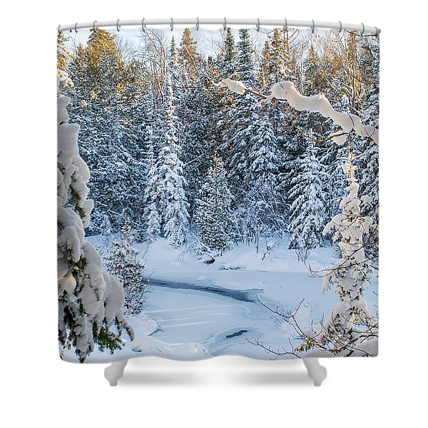 Winter At Grand Marais Creek Shower Curtain