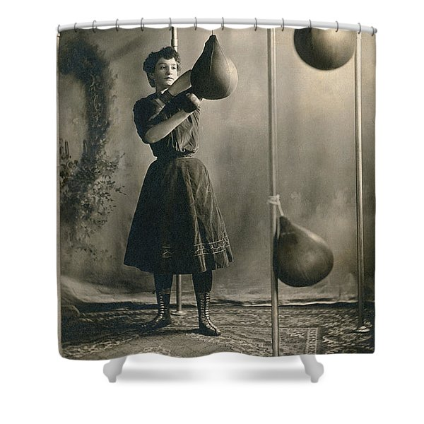 Woman Boxing Workout Shower Curtain