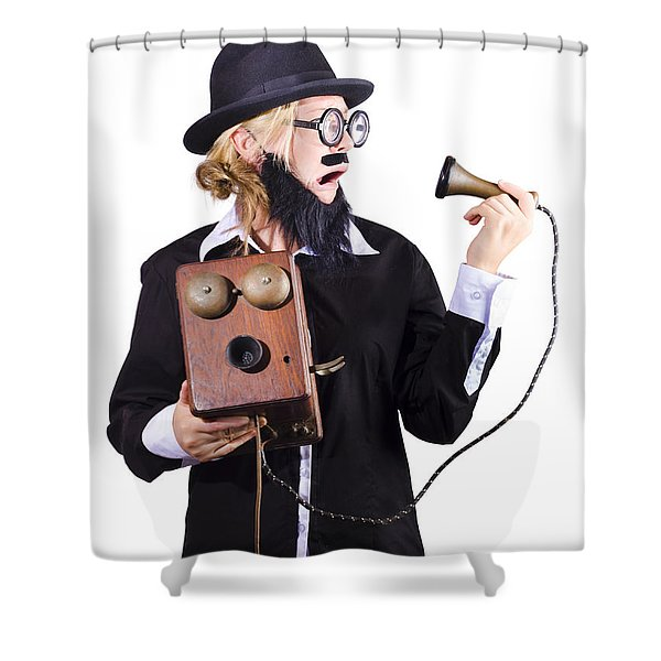 Woman Holding Antique Telephone Shower Curtain