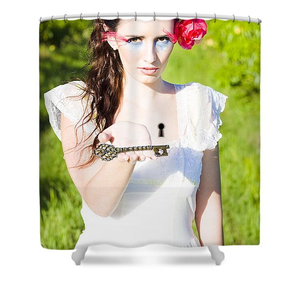 Woman Offering Key To Her Heart Shower Curtain