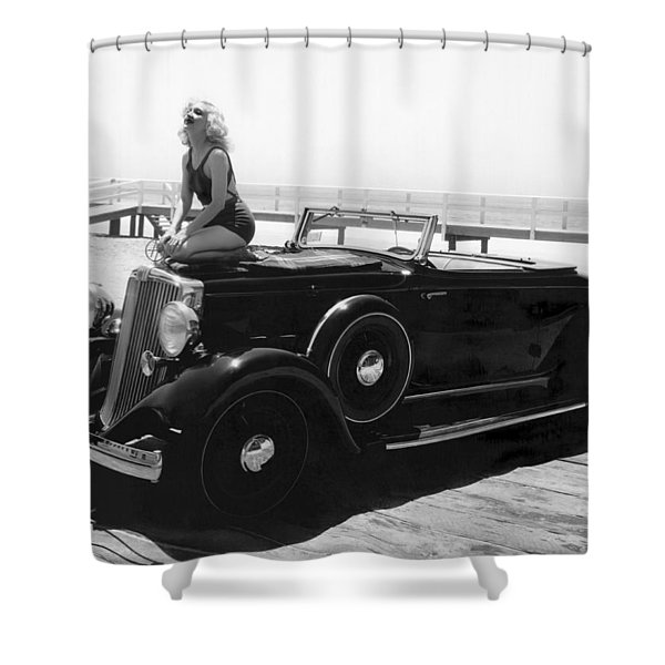 Woman On A Hupmobile Shower Curtain