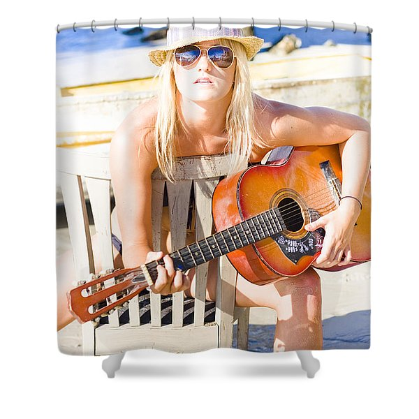 Woman With Guitar Shower Curtain