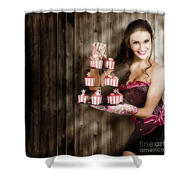 Young Baking Woman With Boutique Desert Platter Shower Curtain