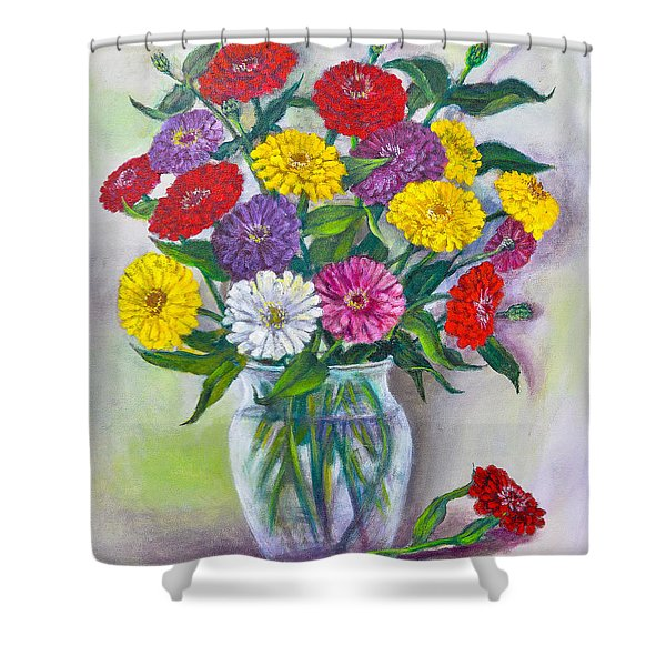 Old Fashioned Zinnias Shower Curtain