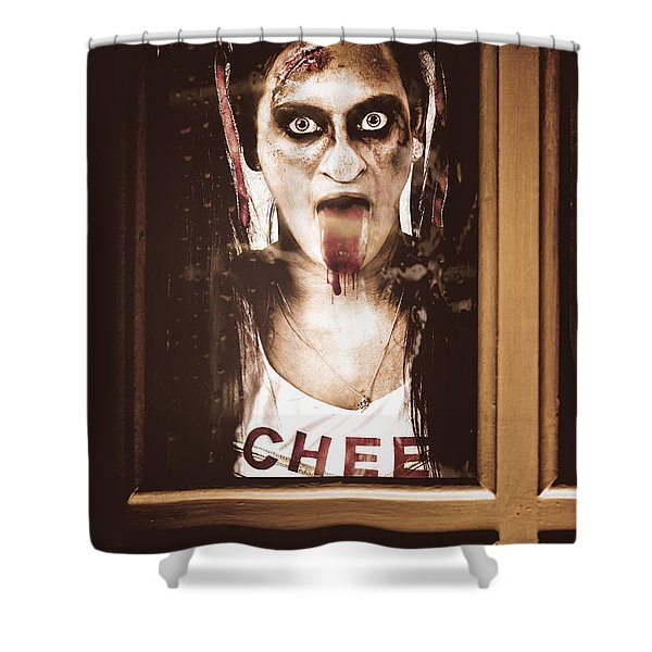 Zombie School Girl Pulling A Funny Face On Glass Shower Curtain