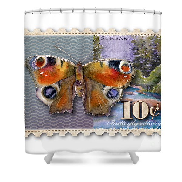 10 Cent Butterfly Stamp Shower Curtain