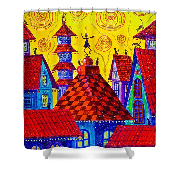 1099 Magic Town 4 - Gilded Shower Curtain