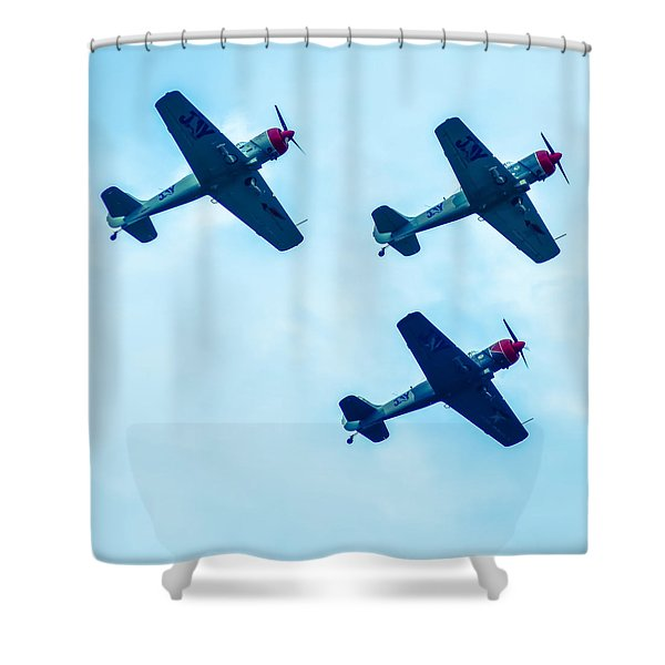 Shower Curtain featuring the photograph Action In The Sky During An Airshow by Alex Grichenko