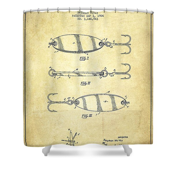 Vintage Fishing Lure Patent Drawing From 1964 Shower Curtain
