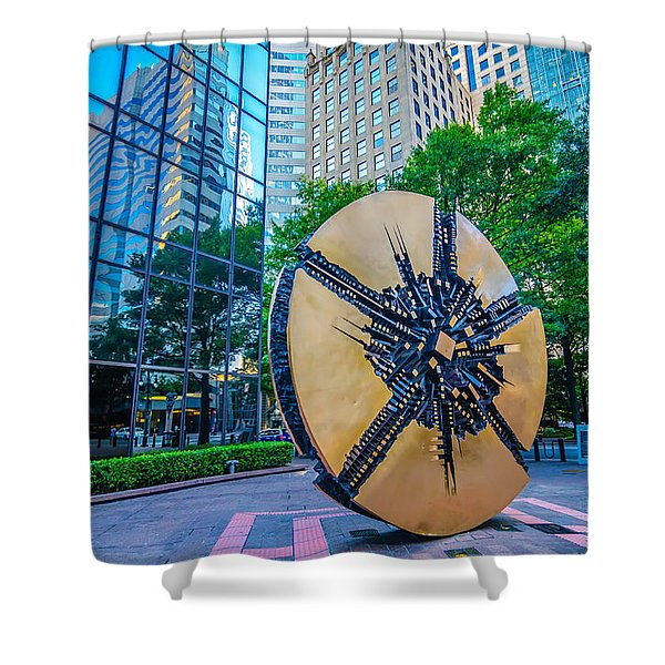 Shower Curtain featuring the photograph Skyline And City Streets Of Charlotte North Carolina Usa by Alex Grichenko
