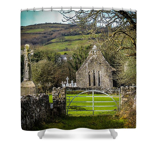 12th Century Cross And Church In Ireland Shower Curtain