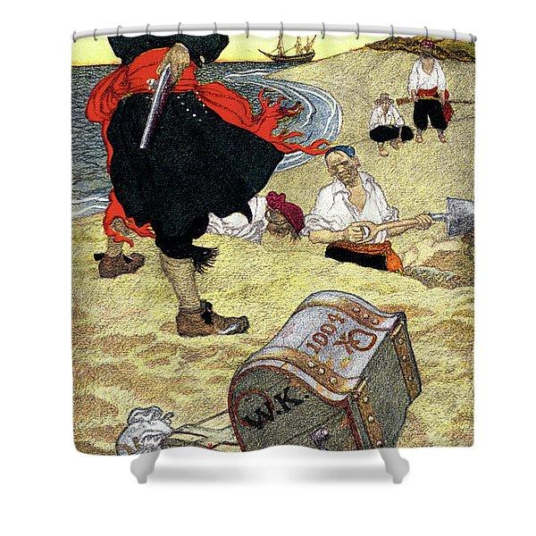 1690s Illustration Pirates On Beach Shower Curtain
