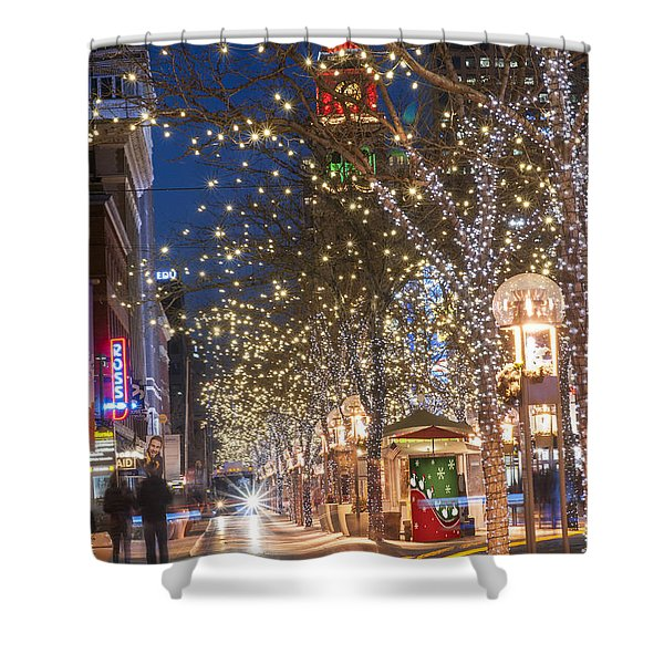 16th Street Mall In Denver Holiday Time Shower Curtain