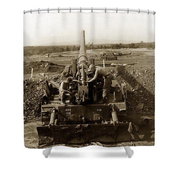 175mm Self Propelled Gun C 10 7-15th Field Artillery Vietnam 1968 Shower Curtain