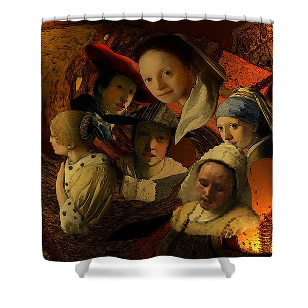 Shower Curtain featuring the digital art 17th Century Maidens by Tristan Armstrong