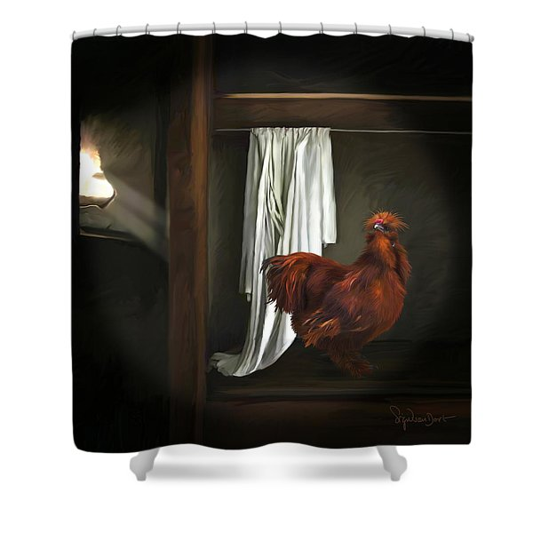 18. Red Rooster Shower Curtain