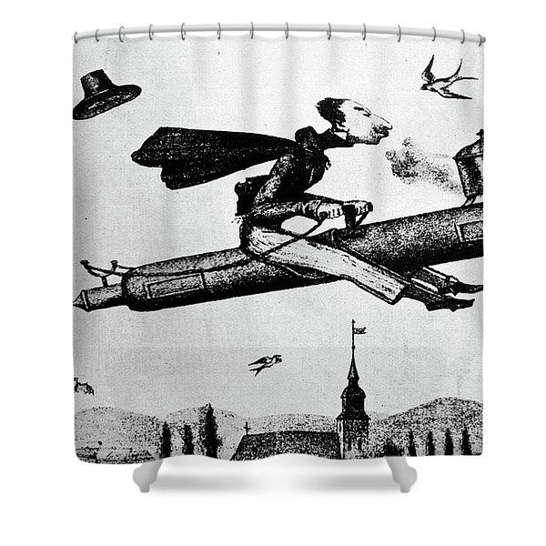 1840s 1800s Illustration Cartoon Of Man Shower Curtain