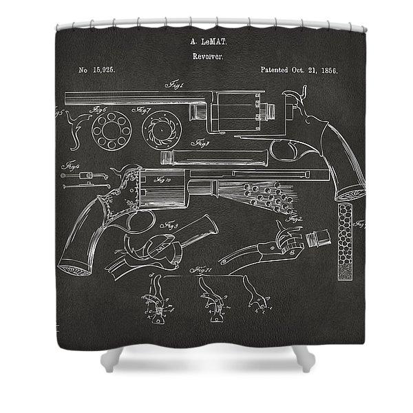 1856 Lemat Revolver Patent Artwork - Gray Shower Curtain