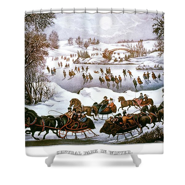 1860s Central Park In Winter - New York Shower Curtain