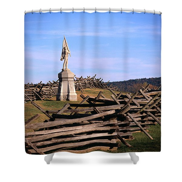 1862 September 17th Statue On Bloody Shower Curtain
