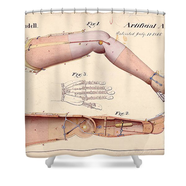 1865 Artificial Limbs Patent Drawing Shower Curtain