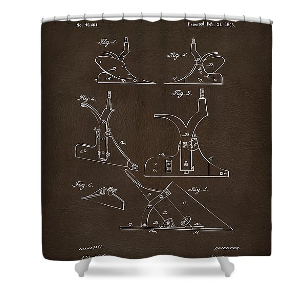 1865 John Deere Plow Patent Espresso Shower Curtain
