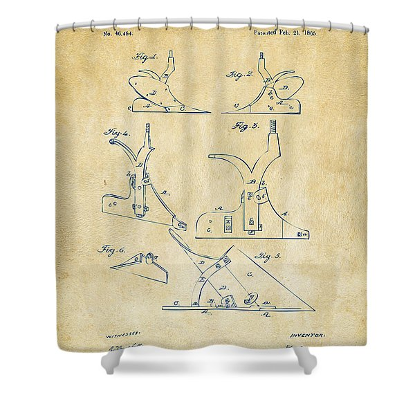1865 John Deere Plow Patent Vintage Shower Curtain