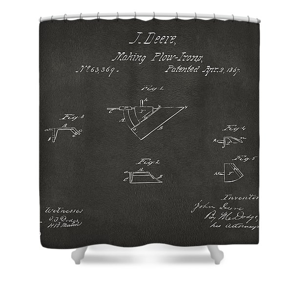 1867 John Deere Plow Irons Patent Gray H Shower Curtain