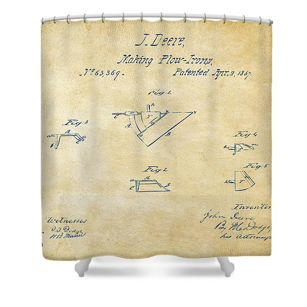 1867 John Deere Plow Irons Patent Vintage H Shower Curtain