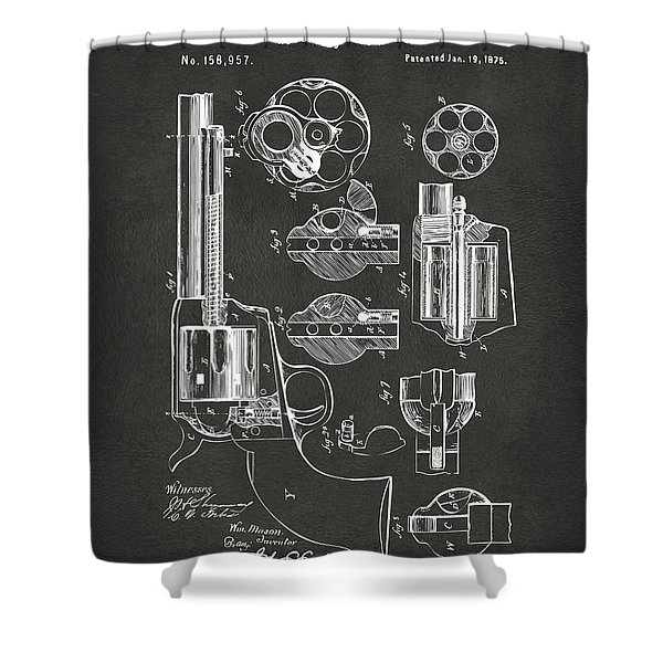 1875 Colt Peacemaker Revolver Patent Artwork - Gray Shower Curtain