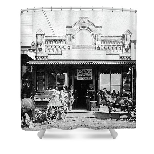 1880s 1885 Men Standing Next To Horse Shower Curtain